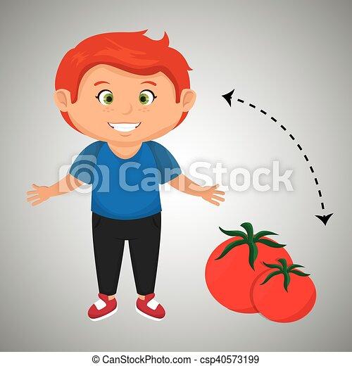 Chico Caricatura De Tomate Salud Vegetal Boy Dibujos