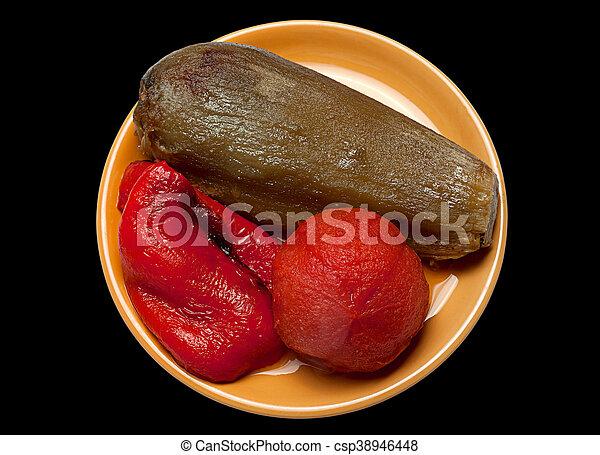 Tomate de berenjena frito y pimienta - csp38946448