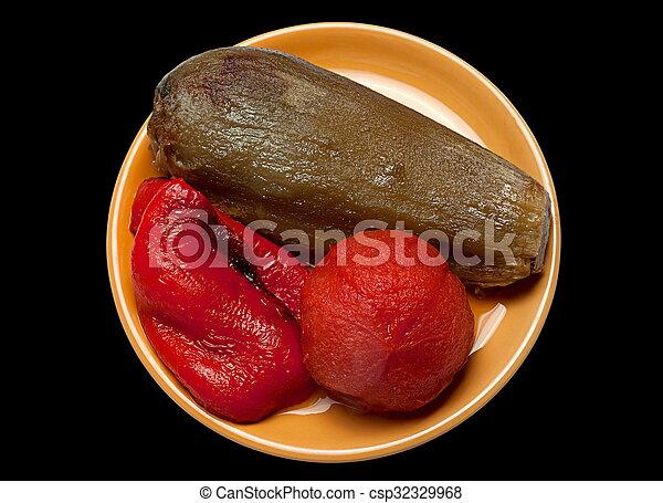 Tomate de berenjena frito y pimienta - csp32329968