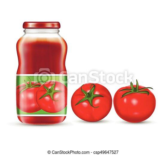 tomate, sauce., ketchup, ilustração, vetorial, vermelho, suco, jarros, tomates - csp49647527