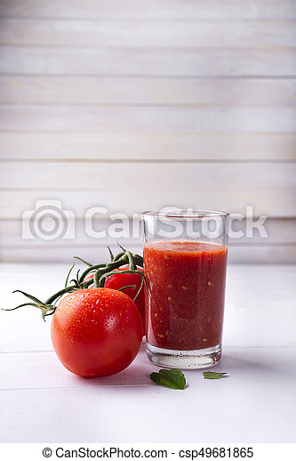 Tomato juice in glass - csp49681865