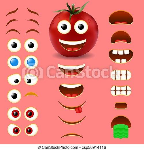 Tomato male emoji creator vector design collection