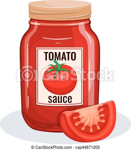 Tomato sauce glass jar. - csp44871205