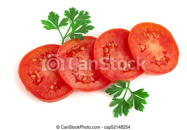 tomato slice with leaf parsley isolated on white background top view