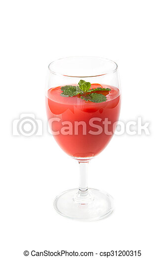 Tomato vegetable juice in glass isolated on white background - csp31200315