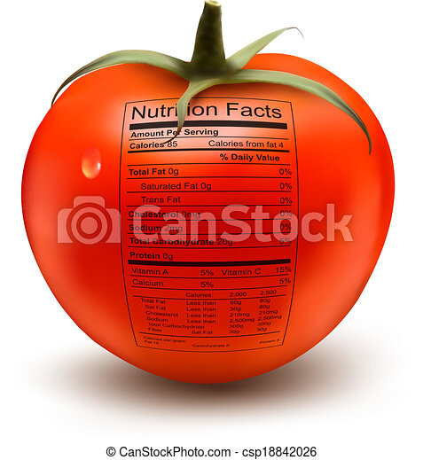 Tomato with a nutrition facts label. Concept of healthy food. Vector. - csp18842026