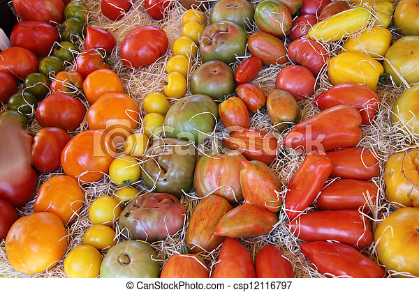 Tomatoes in various colors and shapes - csp12116797