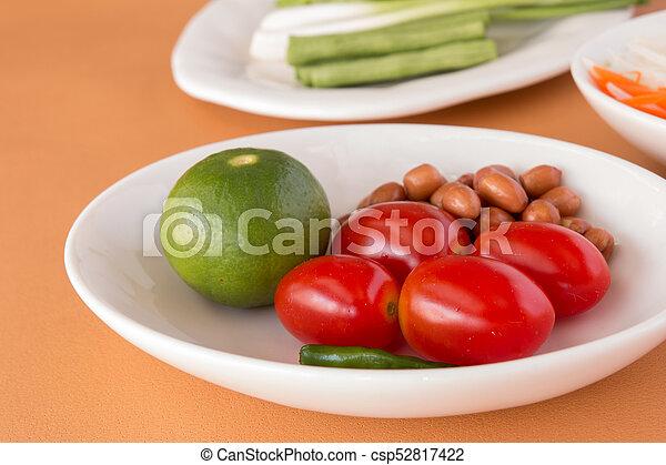 Tomatoes, Lemon, Roasted peanuts, Long-beans - csp52817422