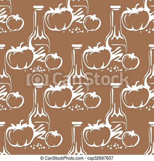 tomatoes oil seamless pattern - csp32697607