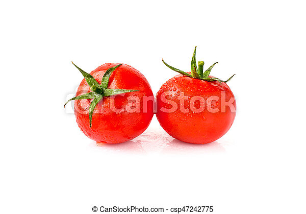 Tomatoes on white background - csp47242775