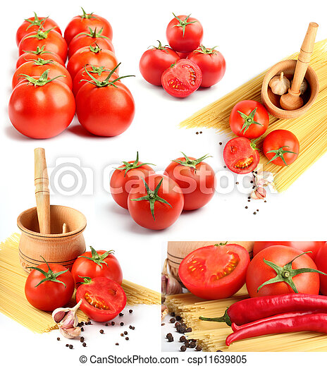 tomatoes, peppers, spaghetti and spices collage - csp11639805