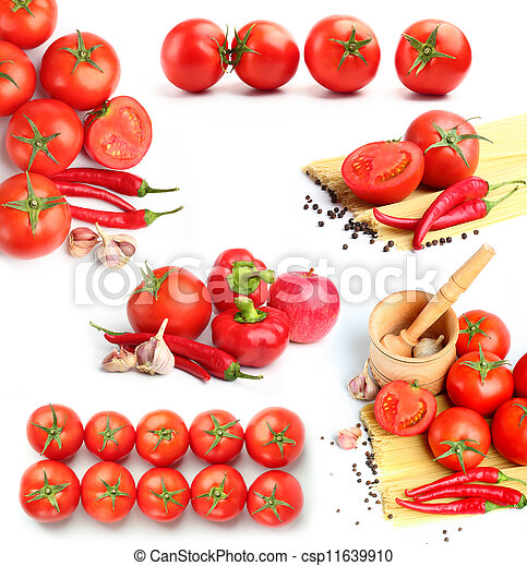 tomatoes, red peppers,spaghetti and spices collage - csp11639910