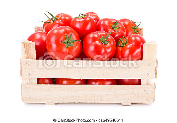 Tomatoes (Solanum lycopersicum) in wooden crate - csp49546611