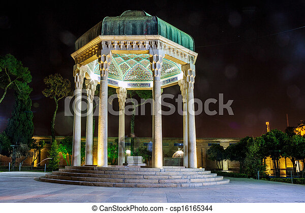 Tomb of poet Hafez in Shiraz, Iran. Hafez lived in 14th century and is the most famous poet in Iran. - csp16165344