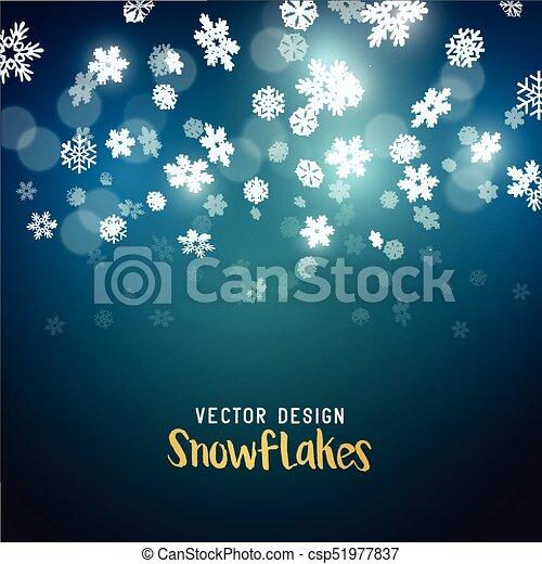 tomber, vecteur, flocons neige, effet - csp51977837