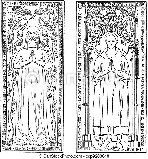 Tombstones, currently in the chancel of church of Saint-gervals, vintage engraving. - csp9283648