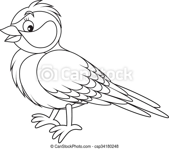 Tomtit Black And White Vector Illustration Of A Titmouse