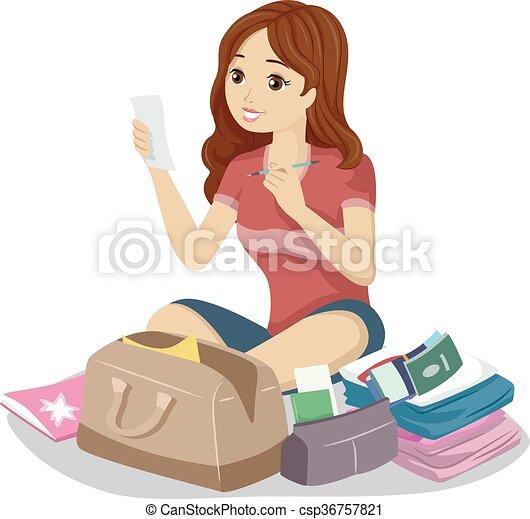 tonåring, läsa, resa, lista, flicka, kontroll - csp36757821