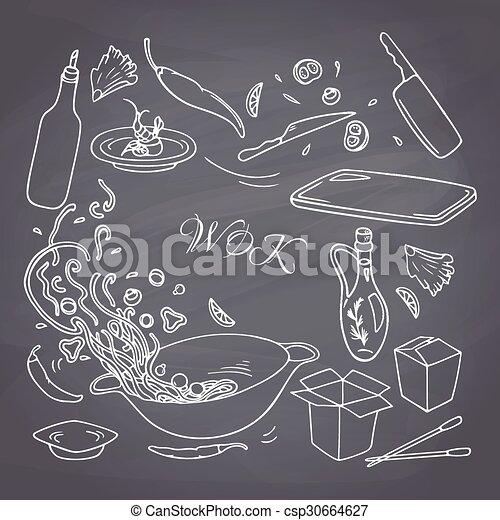 ton, design., main, restaurant, style, craie, griffonnage, éléments, ensemble, dessiné, wok, contour, nourriture, asiatique - csp30664627