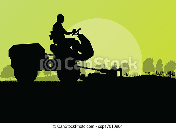 tondeuse gazon, découpage, vecteur, fond, herbe, paysage - csp17010964