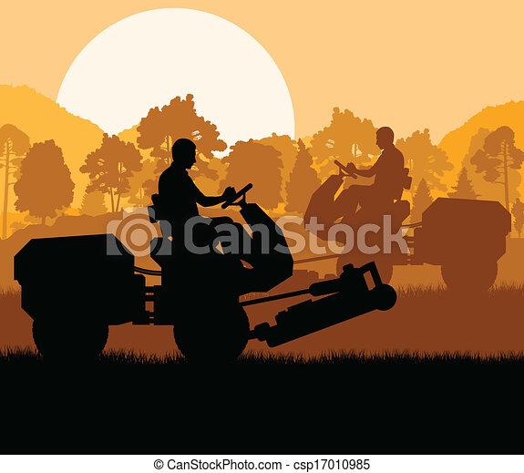 tondeuse gazon, découpage, vecteur, fond, herbe, paysage - csp17010985