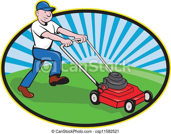 tondeuse gazon, dessin animé, jardinier, homme - csp11582521