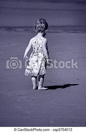 toned bleu, elle, image, minuscule, girl, ombre - csp3754013