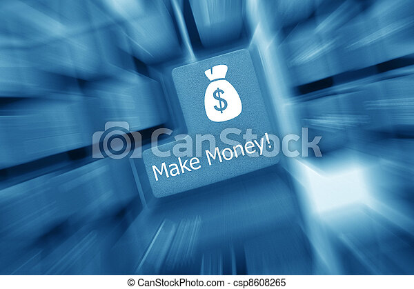 Conceptual keyboard - make money (blue toned). Zoomeffekt - csp8608265