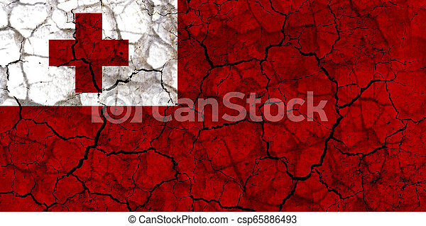 tonga country flag painted on a cracked grungy wall - csp65886493