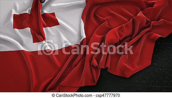 Tonga Flag Wrinkled On Dark Background 3D Render - csp47777970