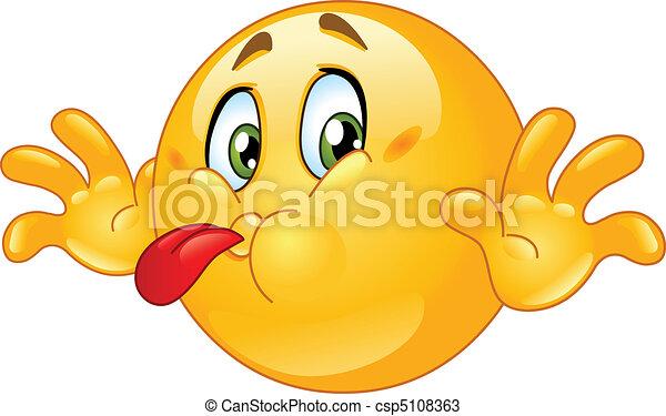 Tongue out emoticon - csp5108363