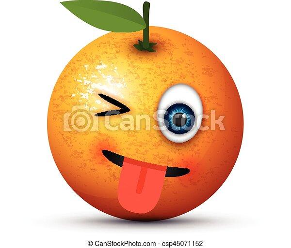 tongue out winking orange - csp45071152
