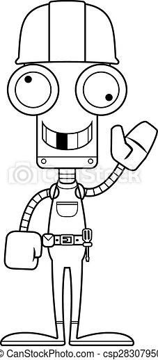 Un robot tonto trabajador de la construcción - csp28307950