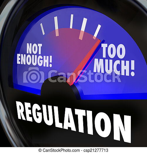 Too Much or Not Enough Regulation Gauge Measuring Rules Level - csp21277713