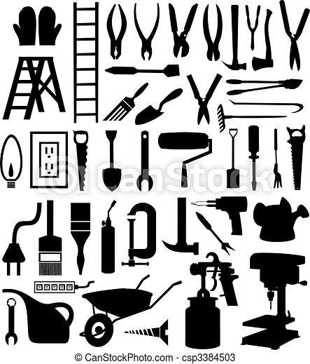 tool., 種類, 插圖, 黑色半面畫像, 矢量, 各種各樣, 黑色 - csp3384503