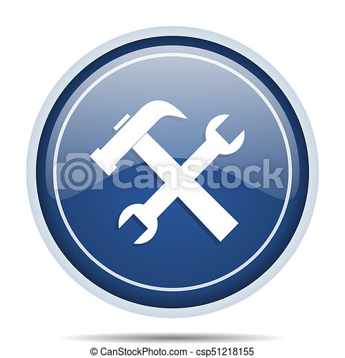 Tool blue round web icon. Circle isolated internet button for webdesign and smartphone applications. - csp51218155