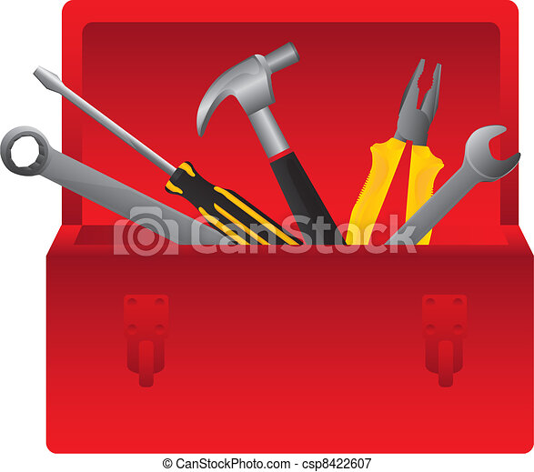 Box Wrench Clip Art Red tool box on white ...