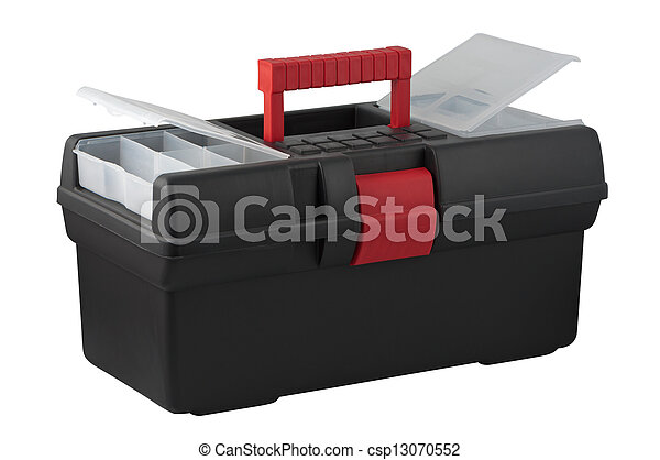Tool box with compartments for small items in a cover. - csp13070552