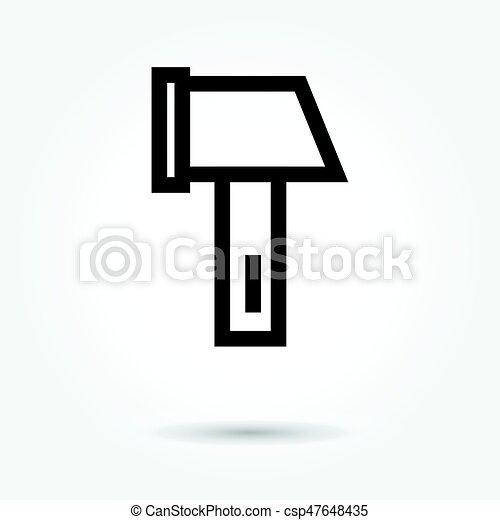 tool hammer icon, modern design web element on white background. logo - csp47648435