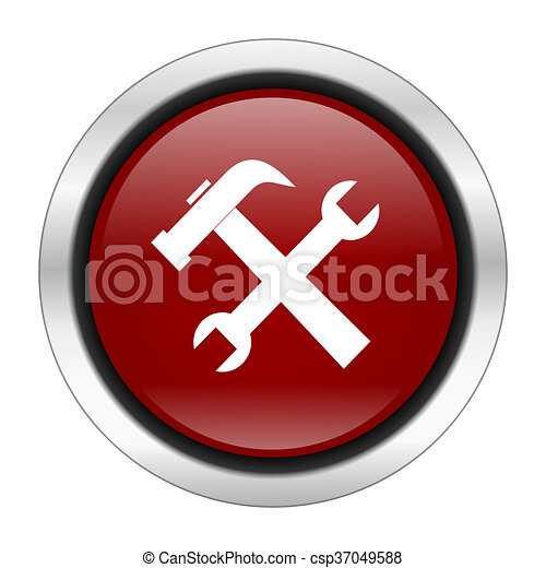 tool icon, red round button isolated on white background, web design illustration - csp37049588