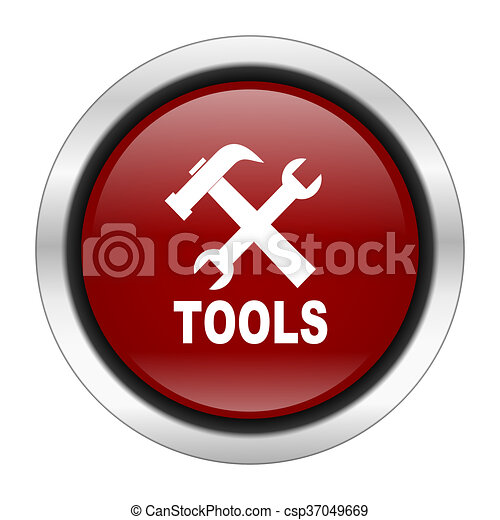 tool icon, red round button isolated on white background, web design illustration - csp37049669