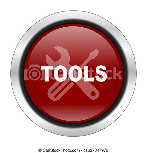 tool icon, red round button isolated on white background, web design illustration - csp37047972