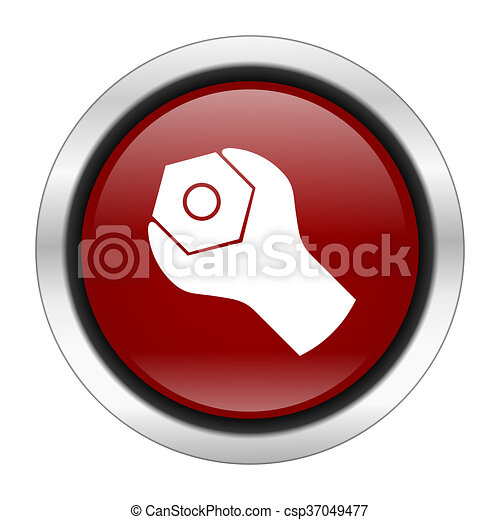 tool icon, red round button isolated on white background, web design illustration - csp37049477