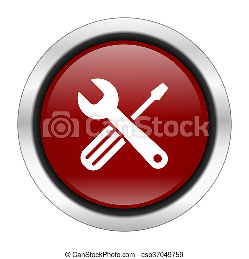 tool icon, red round button isolated on white background, web design illustration - csp37049759