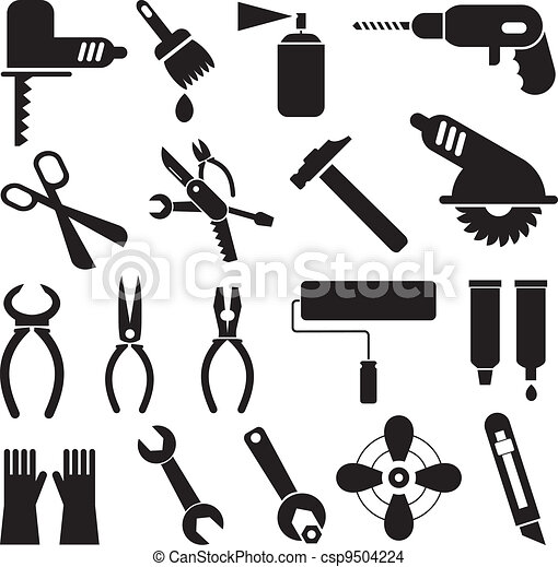 tool icons hand tools set of vector icons isolated black symbols