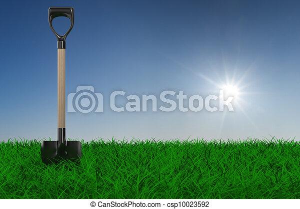 Grita sobre la hierba. Una herramienta de jardín. Imagen 3D - csp10023592