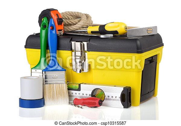 toolbox, konstruktion, redskapen, isolerat, vit - csp10315587