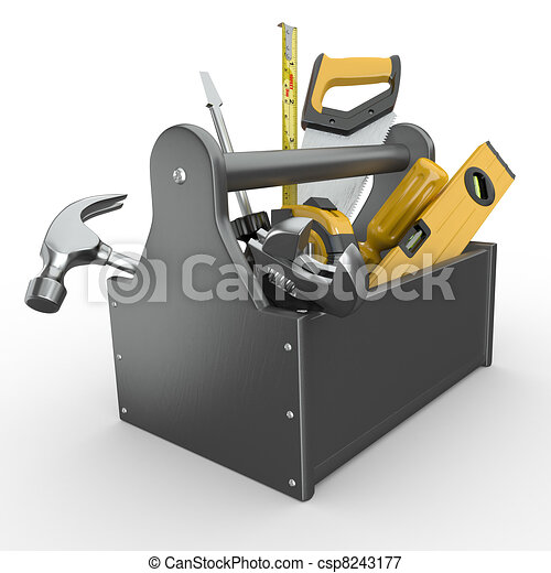 Toolbox with tools. Skrewdriver, hammer, handsaw and wrench. - csp8243177
