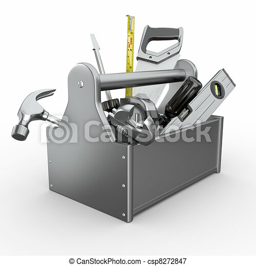 Toolbox with tools. Skrewdriver, hammer, handsaw and wrench. - csp8272847