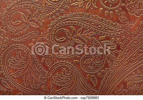 Tooled Floral Pattern In Leather Tooled Floral Pattern In Brown